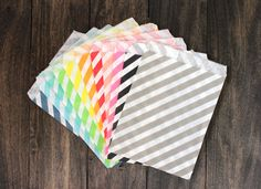 20ct Treat Paper Bags  Striped paper bags  by BoxandBowsupply
