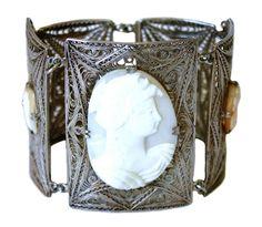 Vintage Italian 800 Silver Filigree Cameo Bracelet c.1930/1940s by LilTreasuresAntiques on Etsy