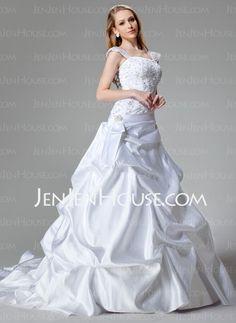 Wedding Dresses - $244.49 - A-Line/Princess Strapless Chapel Train Satin Wedding Dresses With Lace  Beadwork (002000436) http://jenjenhouse.com/A-line-Princess-Strapless-Chapel-Train-Satin-Wedding-Dresses-With-Lace--Beadwork-002000436-g436