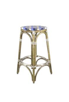 WA HOO DESIGNS, HK-39 BACKLESS FRENCH BISTRO STOOL, HK-39, WEAVE: CUSTOM HARLLEQUIN COLORS: TRUE BLUE, SKY BLUE, BEIGE & GOLD WOOD FINISH: LIGHT HONEY Blue Wood, Gold Wood, White Wood, French Bistro Chairs, Parisian Cafe, French Cafe, Kids Seating, Handmade Furniture, Furniture Collection