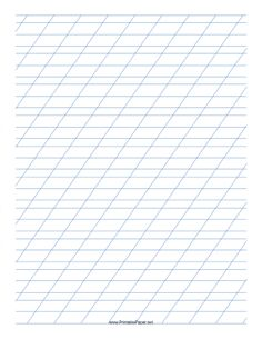 This Italic Practice Paper features sets of light blue 1/4-inch wide lines with 3/8-inch wide lines immediately before and after, with high angle vertical guidelines on letter-sized paper in portrait orientation. Free to download and print