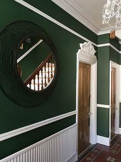 dark green hallway - Google Search Entrance Hall Decor, Hallway Colours, Hallway Decorating, Doors, Mirror, Green, Furniture, Google Search, Home Decor