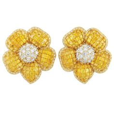 Pair of Gold, Invisibly-Set Yellow Sapphire and Diamond Flower Earclips