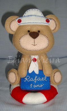 Topo de bolo / centro de mesa -tema urso marinheiro / edianevov@yahoo.com.br / https://www.facebook.com/edianefeltro?ref=hl