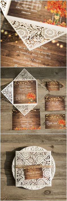 country rustic fall wedding invitations, laser cut wedding invitation