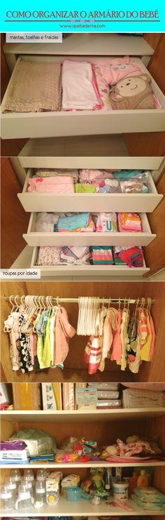 Dicas e ideias para organizar o armário do bebê - roupas, enxoval, itens de saúde e higiene, brinquedinhos e mais!