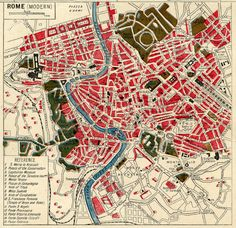 vintage street maps, Italy