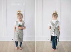 Brown Eyes Blue Pinafore Apron - Montessori apron for kitchen