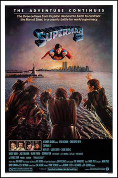 DC Comics in film - 1980 - Movie poster - Superman II by Richard Lester 1980's Movies, Great Movies, Cult Movies, Action Movies, Awesome Movies, Romance Movies, Art Vintage, Vintage Movies, Superman