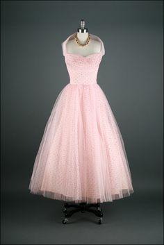 Pink polka dot vintage 1950s dress