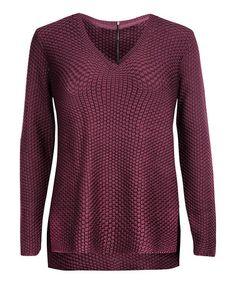 Love this Burgundy Zip V-Neck Sweater - Plus on #zulily! #zulilyfinds