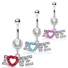 """Piercing nombril coeur 17 - Love. Piercing pour le nombril avec un pendentif représentant le mot LOVE. Le """"O"""" est en forme de coeur et décoré de multiples strass. Couleur au choix.."""