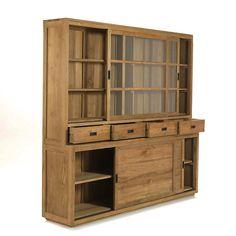 Emotion Vaisselier en teck avec portes, tiroirs et vitrines 215cm - Livré monté