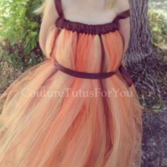Autumn Winds brown tulle dress orange tutu by CoutureTutusForYou, $42.95
