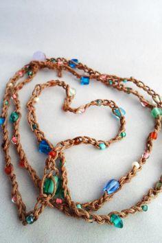Colorful Hemp Beaded Crochet Wrap by HempGalore on Etsy, $19.99