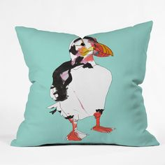 Casey Rogers Puffin Throw Pillow $39