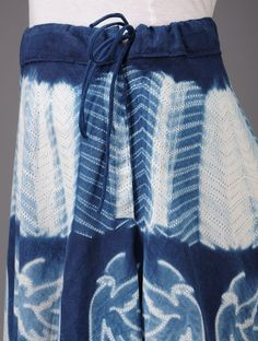 Indigo Birds Shibori-Dyed Cotton Skirt - Buy Apparel > Pants & Skirts > Indigo Birds Shibori-Dyed Cotton Skirt Online at Jaypore.com
