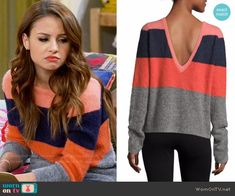 bdd36c4a457052 Sofia's striped v-back sweater on Young and Hungry. Outfit Details: https: