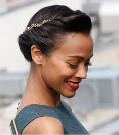party hair, beauty makeup, spring hair, zoe saldana, red lips, beauti, hairstyl, hair accessories, hair combs