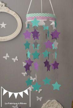 Mobile suspension étoiles turquoise gris et violet mauve ...