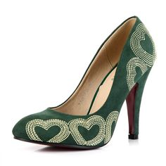 Elegant Pointed Closed Toe Heart-shaped Embroidery Stiletto High Heels Green Suede Basic Pumps_Pumps_Womens Shoes_Cheap Clothes,Cheap Shoes Online,Wholesale Shoes,Clothing On lovelywholesale.com - LovelyWholesale.com