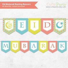 Eid Mubarak Editable Decor Bunting Ramadan Mubarak Bunting | Etsy Mini Bunting, Party Bunting, Bunting Banner, Banners, Eid Mubarak Photo, Mubarak Ramadan, Eid Mubarak Stickers, Eid Stickers, Eid Party