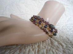 Set of 3 Purple and Yellow Handmade Beaded by LandofBridget, $7.00