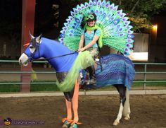 Christine: Morgan turned her pony into a peacock. The trickiest part of this homemade costume was having the feathers in the tail stand up straight without using any potentially dangerous sticks...