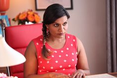 An adorable polka dot dress, AND it matches Mindy's chair?! Too cute. #themindyproject