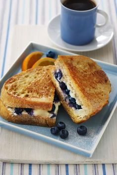 Blueberry French Toast Sandwich - weekend breakfast idea?  Since Normie likes blueberries.