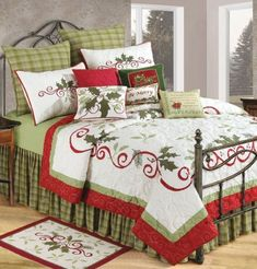 Christmas Bedroom Decor | WebNuggetz.com  - beautiful Christmas bedroom in white, red and green - elegant for the guest room