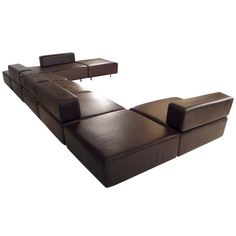 Harvey Probber Chocolate Brown Leather 'CUBO' Sectional | From a unique collection of antique and modern sectional sofas at https://www.1stdibs.com/furniture/seating/sectional-sofas/