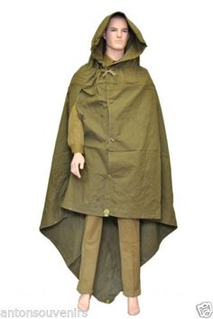 Genuine Russian Soviet Red Army Rain Cape, Poncho Coat, Plash-Palatka, made from a strong olive green canvas type material and can serve as a raincoat or as a tent. Perfect for fishing, hiking or just to use in bad weather. This is not a replica and not a fake!!! Unused Soviet Military Surplus. #russianarmy #russian #russiansouvenirs #russianstyle