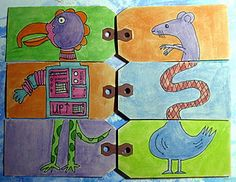 Lesson on equiste corps...create an artist book as a class.    Flip book animals - Using my favorite shipping tags, a Sharpie fine point pen and watercolors by Jamie Fingal