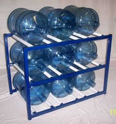 ShaCo Racks 5 Gallon Water Bottle Storage Rack with 9 Bottle Capacity 5 Gallon Water Bottle, Water Bottle Storage, Water Bottle Design, Aquafresh, Water Packaging, Bottle Rack, Metal Crafts, Hacks, Projects To Try