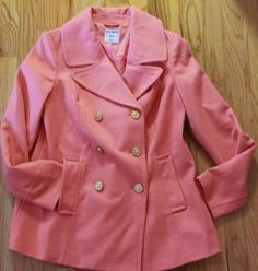 New Womens Pea Coat Outerwear Wool Blend Old Navy Classic Pink Lilac S M