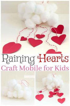 Raining Hearts Mobile - this is such a cute preschool craft for February. This valentines day craft is super clever. Raining Hearts Mobile - this is such a cute preschool craft for February. This valentines day craft is super clever. Valentines Day Crafts For Preschoolers, Preschool Valentine Crafts, Valentine's Day Crafts For Kids, Valentines Day Activities, Crafts Toddlers, Daycare Crafts, Valentine Theme, Valentines Day Party, Valentines For Kids