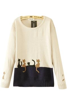 Cute Cats Print O-neck Long Sleeves Pullover Loose Sweater
