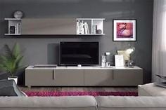 Maura TV Unit Living Room Furniture Set Media Wall Basalt Grey on White Gloss