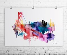 San Francisco Brige Golden Gate City Watercolor Painting - Art Print - Wall Art - skyline poster