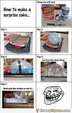 How to make a surprise cake with a balloon. Oh no... My birthdays coming up soon...