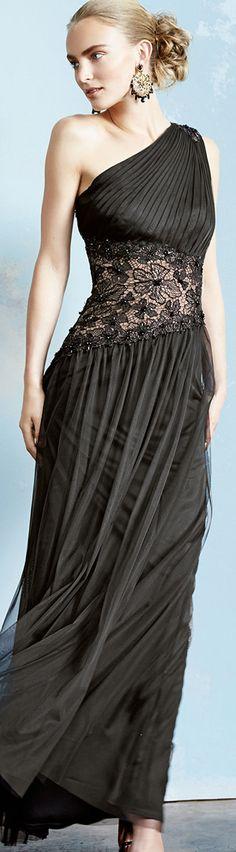 Tadashi Shoji Evening Gown.  Love the earrings too!