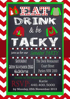 Tacky Sweater Party Invitation Chevron Red Chalkboard Uly Sweater Offfice Party Printable Personalized  Christmas Invitation
