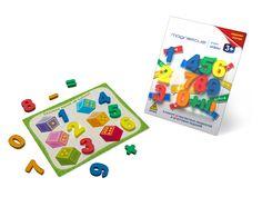 """Пластиковые магнитные цифры от 0-9  и знаки """"+"""", """"-"""", """"="""" входят в набор """"Учим цифры"""".  В набор входят карточки с 10 увлекательными игровыми заданиями."""