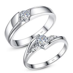 Cubic Zirconia Diamond Eternity Promise Rings for Couples, Sterling Silver Engagement Rings Set for Women and Men, Matching Couples Jewelry for Him and Her #DazzlingDiamondEngagementRings #SterlingSilverEngagement