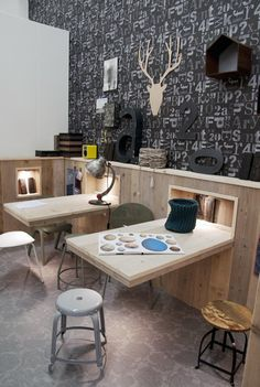 Cool desk / creative stations for a kids playroom