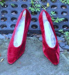 Vintage Caparros Shoes Red Velvet High Heel Pumps by Remtique, $10.00