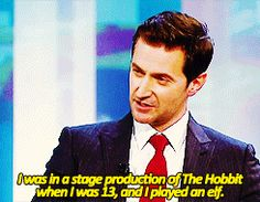 (Gif) Richard Armitage talking about his role in a stage production of The Hobbit when he was a kid.