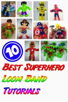 10 Best Superhero Loom Bands Tutorials - How I wish I will have enough time for this. I am planning a Superhero theme for my twins birthday next year and this is the best souvenir that I have in mind. Follow us to http://rainbowloomsale.com