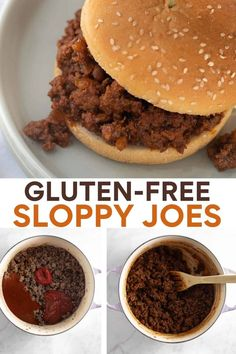 The BEST gluten-free sloppy joe recipe that's not only delicious, but also quick and easy to make! Made with real ingredients instead of canned sauce. Make this recipe for a crowd-pleasing dinner any night! Egg Free Recipes, Best Gluten Free Recipes, Gluten Free Recipes For Dinner, Gluten Free Cooking, Dinner Recipes, Gf Recipes, Family Recipes, Healthy Recipes